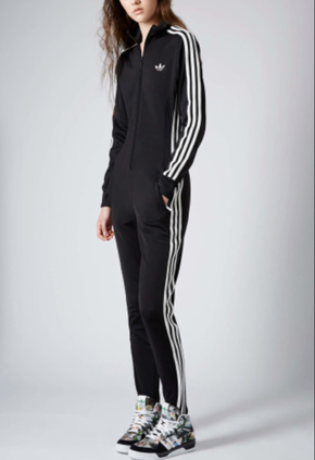 black adidas jumpsuit on the hunt UVDHAYY