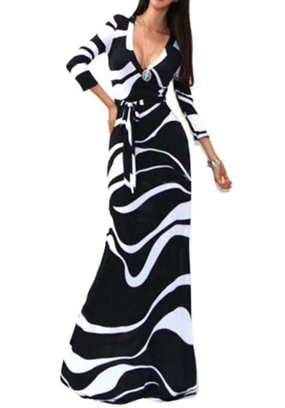 black and white maxi dress black and white striped abstract print v-neck 3/4 sleeve fashion maxi dress EFGQAAP