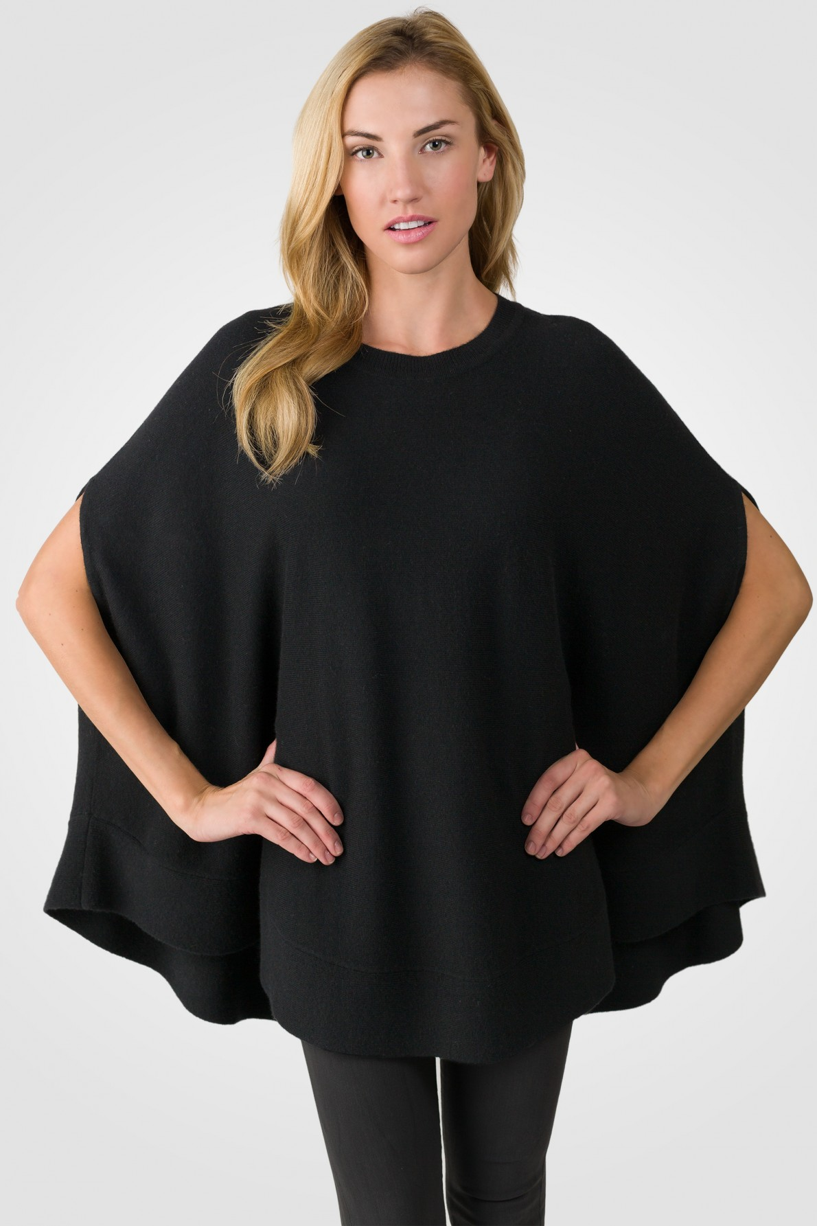 black cashmere oversized laid-back poncho sweater front view alt QHITHIN