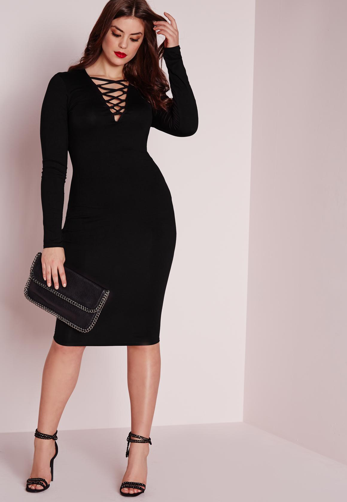 black dress plus size plus size lace up dress black WXAVEZB