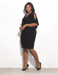 black dress plus size rozu0026ali plus size split-sleeve sheath dress TZAIOQX