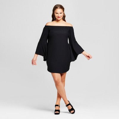 black dress plus size womenu0027s plus size off the shoulder dress - no comment (juniorsu0027) MVUFDNZ
