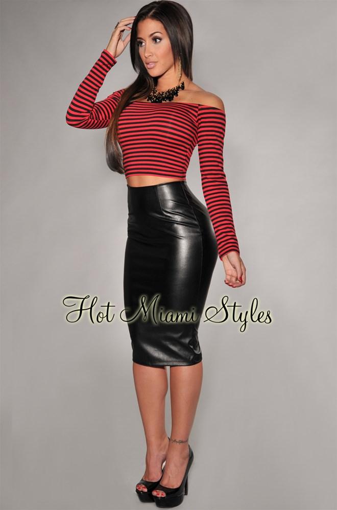 black faux leather pencil skirt UQASAHK