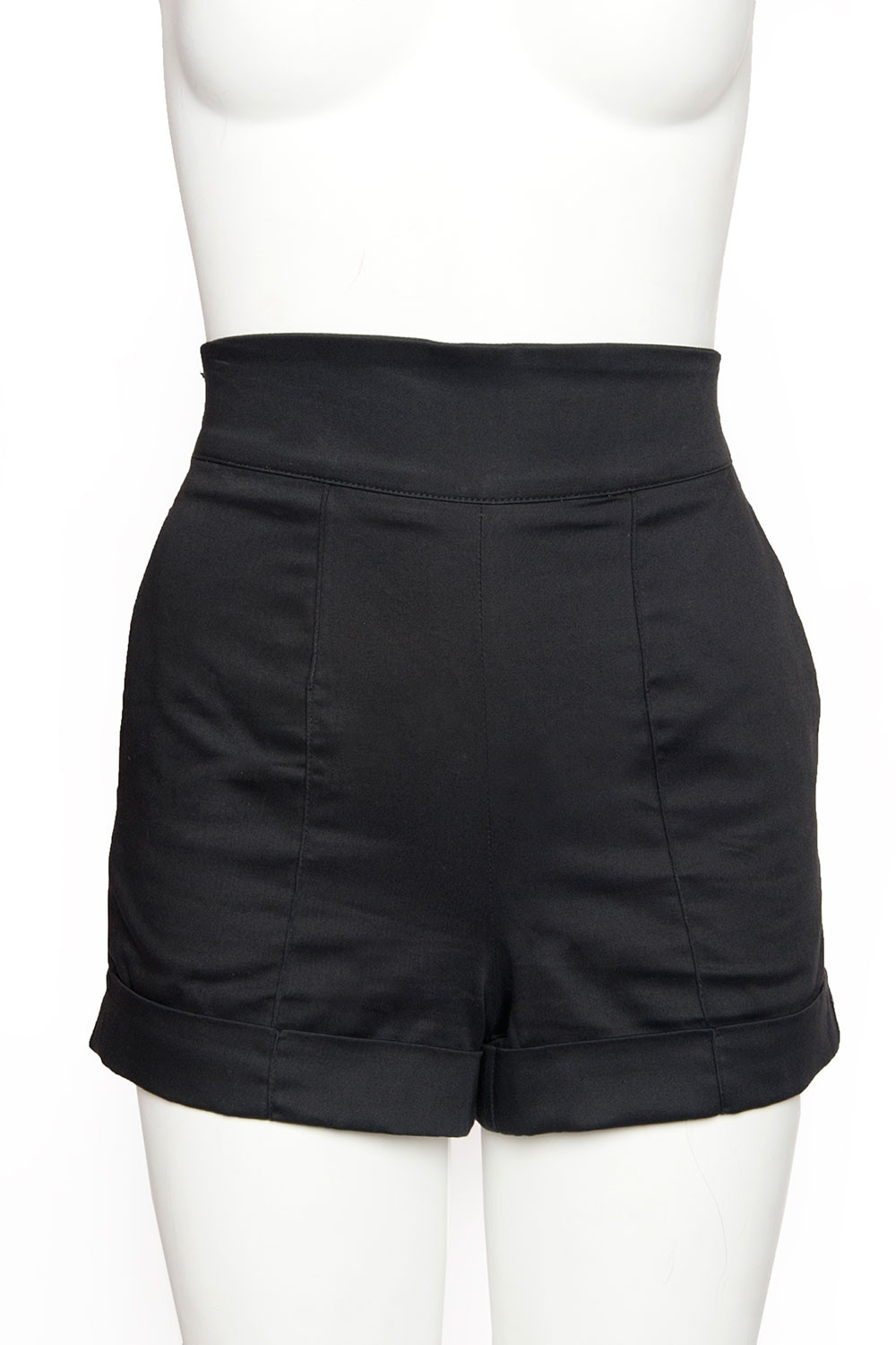 black high waisted shorts high waisted shorts in black sateen VZDJHCD