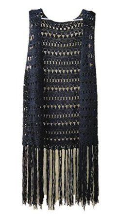 black long fringed crochet vest festival top AQAVCZI