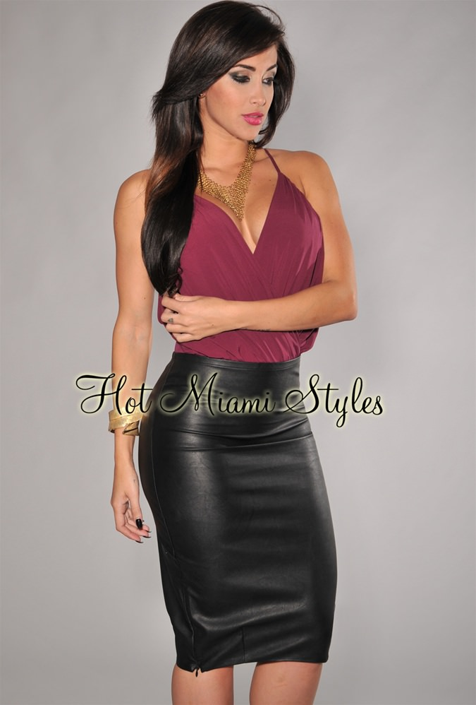 black matte faux leather pencil skirt YXOWHWM