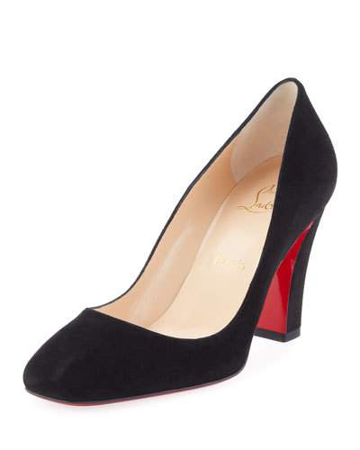 black pumps viva suede 85mm red sole pump, black TOFAAYW