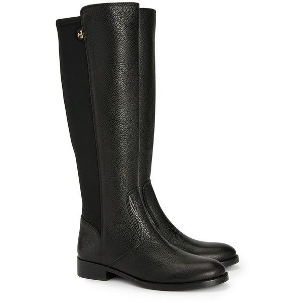black riding boots tory burch selden riding boots-tumbled leather/stretch scuba ($495) ❤ liked BJCWUWN