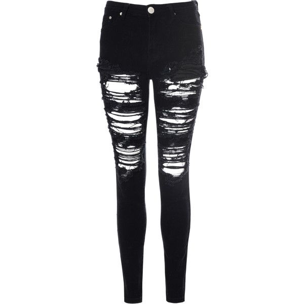 black ripped skinny jeans black heavily ripped jeans found on polyvore MAROCDE