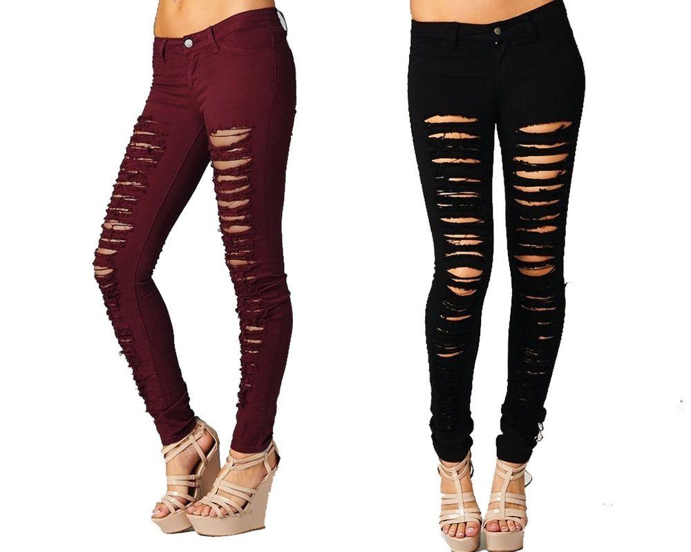 black ripped skinny jeans destroyed skinny jeans red black khaki green women denim ripped colored  pants | ebay QRKGFMN