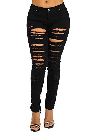 black ripped skinny jeans high waisted ripped destroyed distressed black skinny jeans 10351a-3 GZNOILW