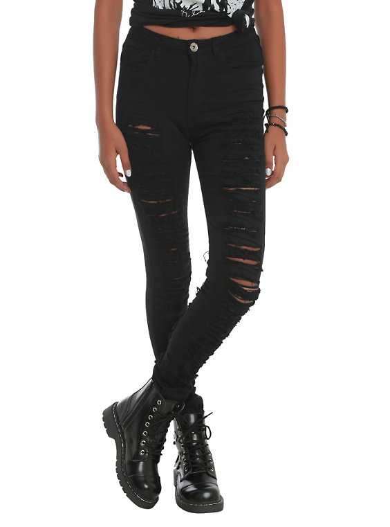 black ripped skinny jeans machine black ripped high-waisted skinny jeans, , hi-res FKPRIDZ