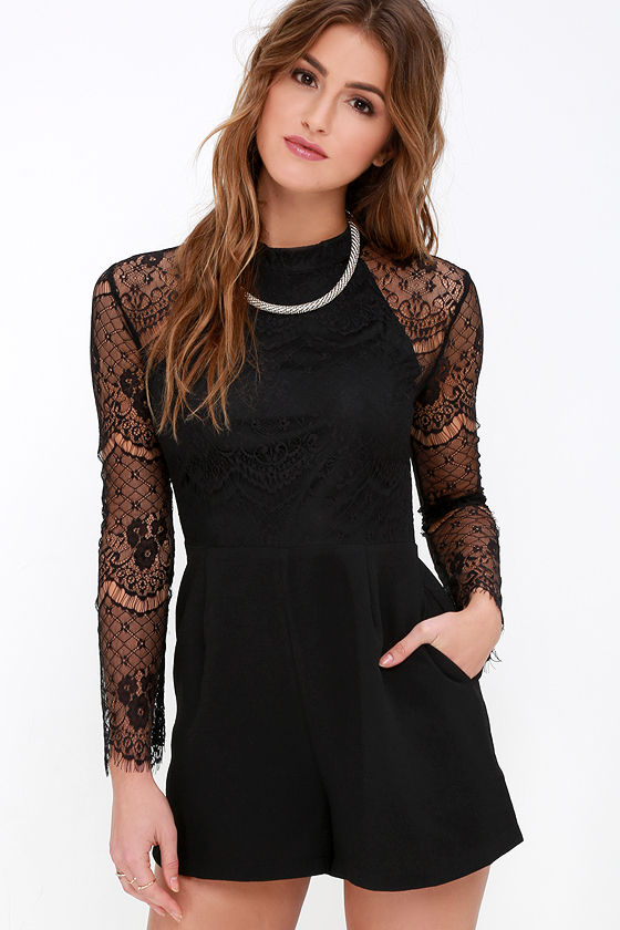 black romper - long sleeve romper - lace romper - $59.00 LPGMPSX