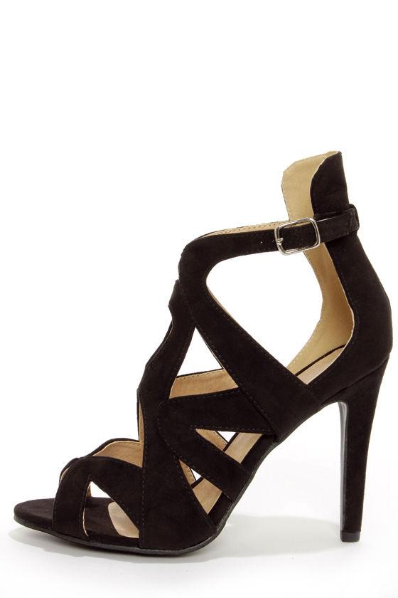 black strappy heels cute black heels - peep toe heels - strappy heels - single sole heels - VLKLTUE
