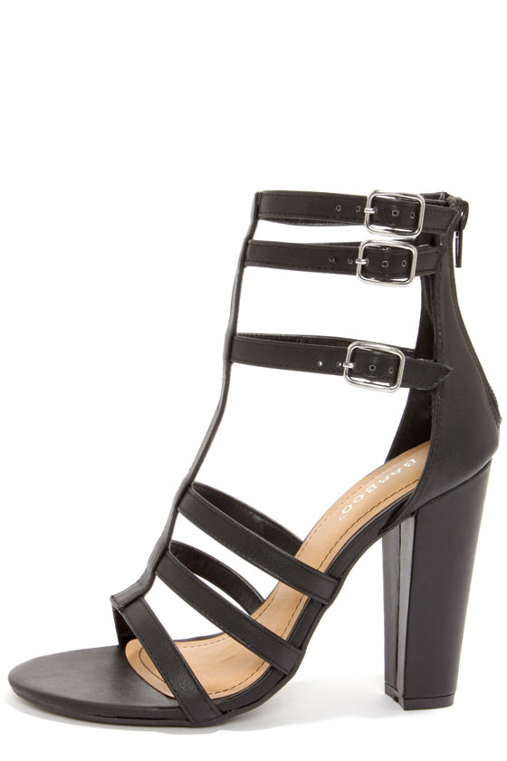 black strappy heels cute black heels - strappy heels - peep toe heels - high heel sandals - HIZZQUB