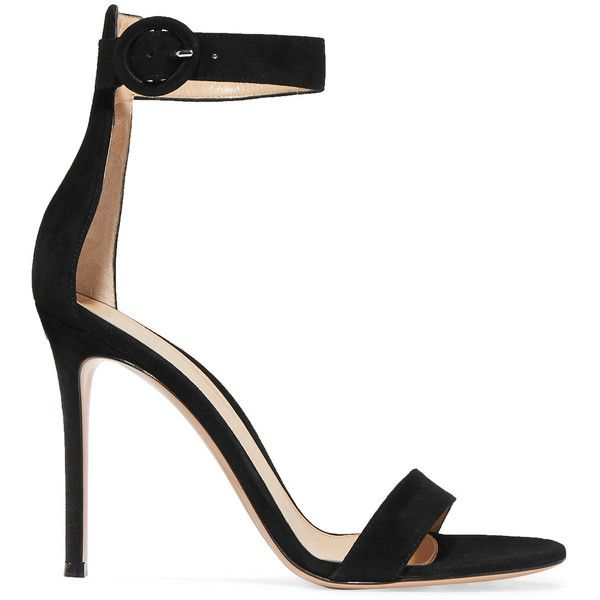 black strappy heels gianvito rossi portofino suede sandals ($650) ❤ liked on polyvore featuring  shoes, sandals. black VOEHCRG