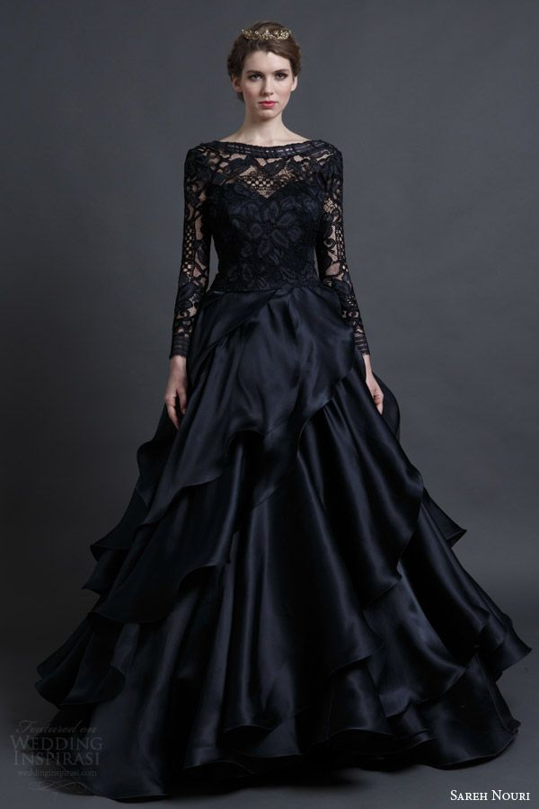black wedding dresses sareh nouri bridal spring 2016 wedding dresses MWDMAVE