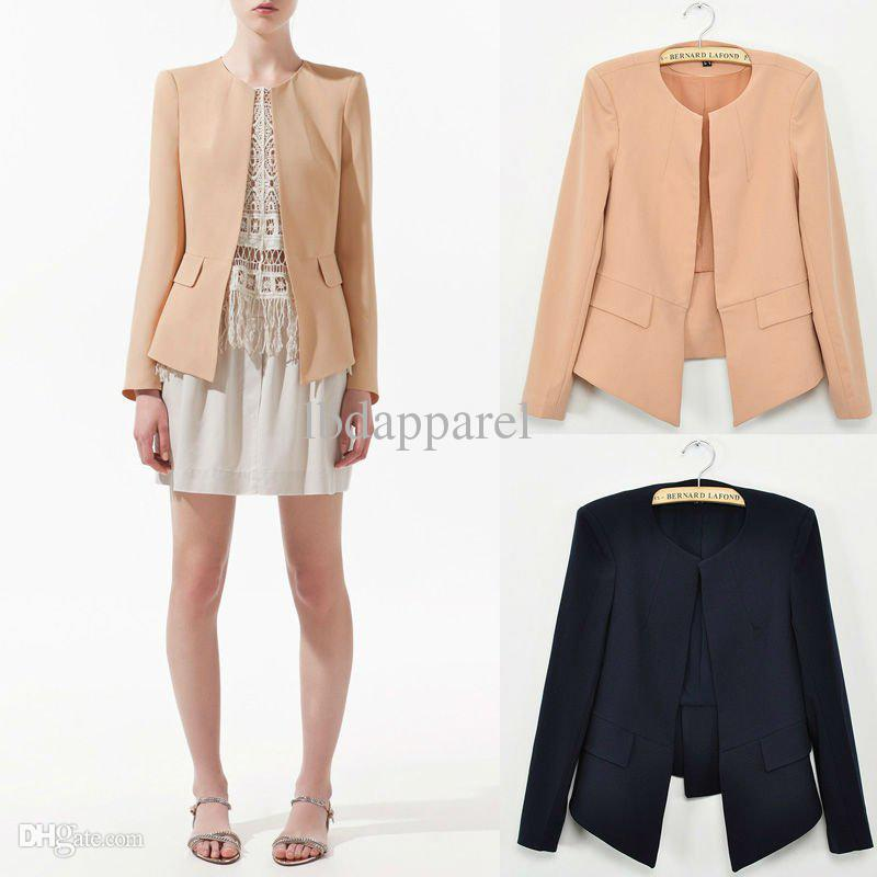 blazers for women 2017 wholesale new 2015 casual blazer women suit crew neck none button long  sleeve WJEGHXY