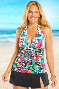bleu two of a kind halter plus size tankini top-17415-multi LVZAENM