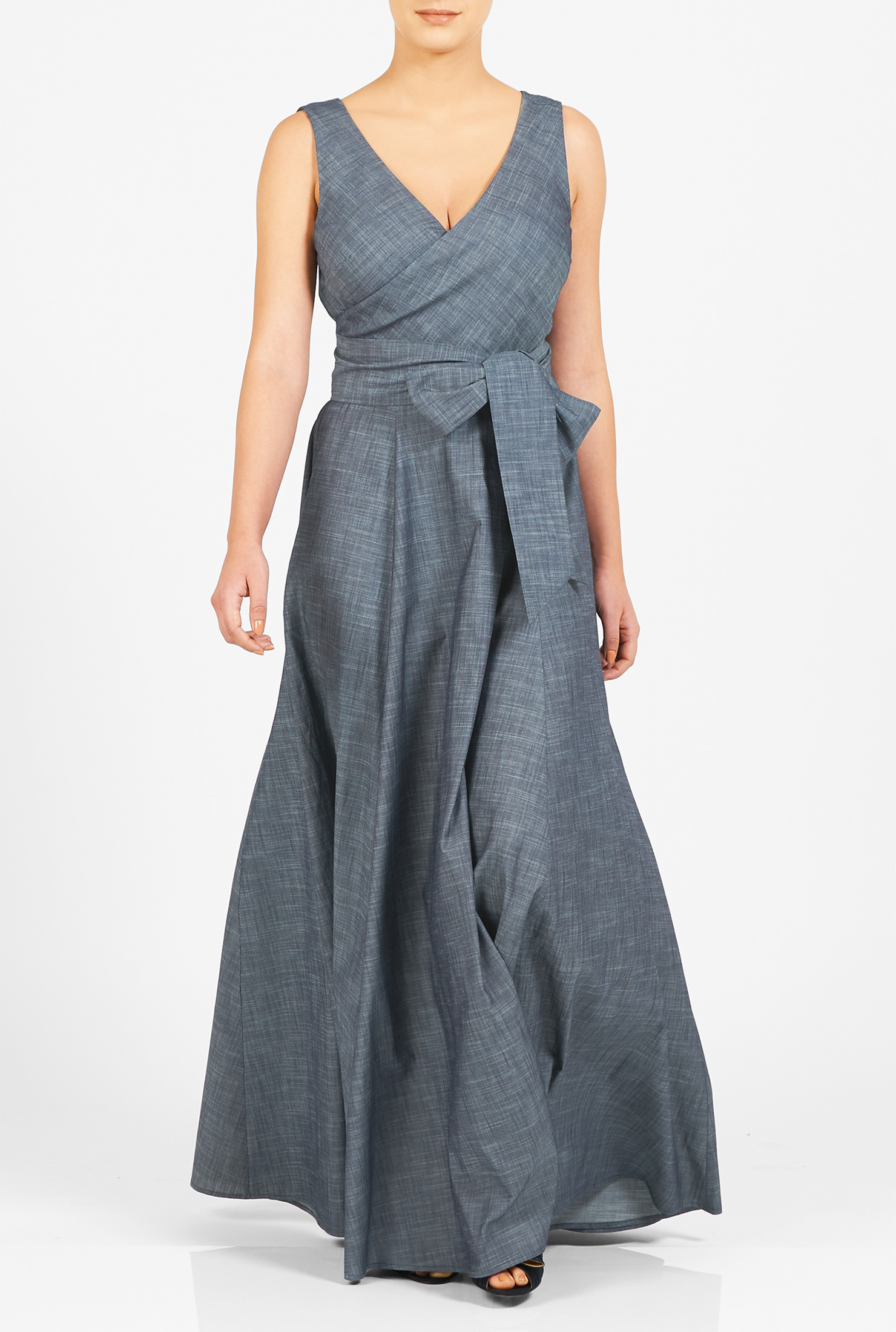 blue dresses, chambray dresses, chambray maxi dresses, cotton dresses, full  length IXWIAFR