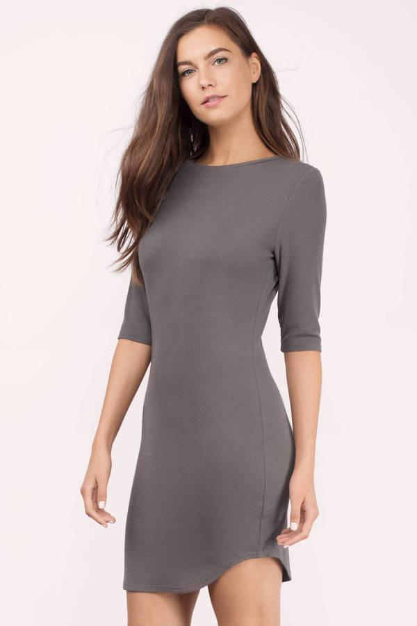 body con dress cute taupe bodycon dress - long sleeve dress - bodycon dress - $24.00 HMLSUXM