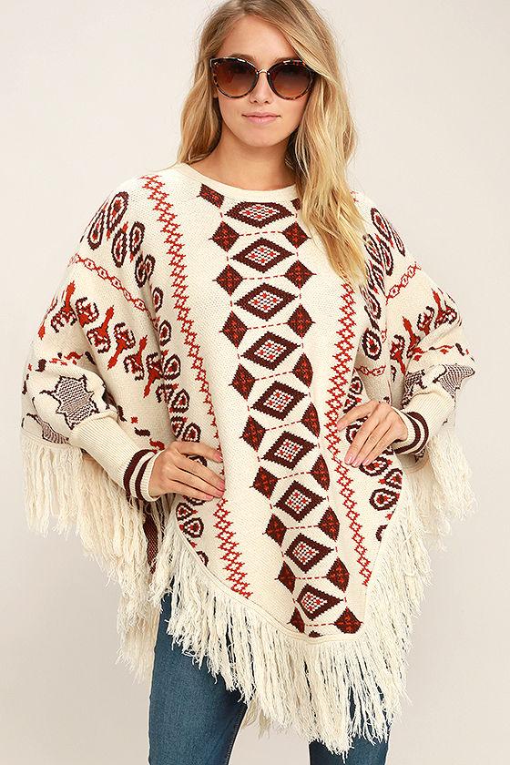 boho poncho - retro print poncho - poncho sweater - sweater poncho - $58.00 APTYRXC