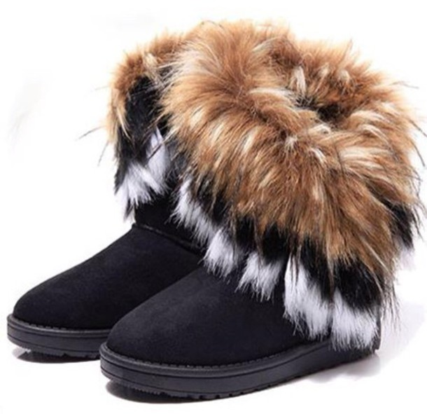 boots furry boots ugg boots black boots fur shoes furry fur boots cold  booties ATSXFEJ