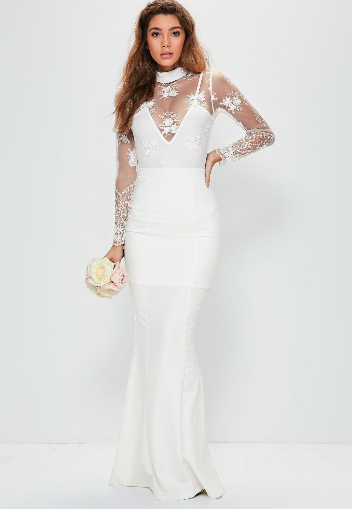 bridal white maxi skirt KFCAGVJ