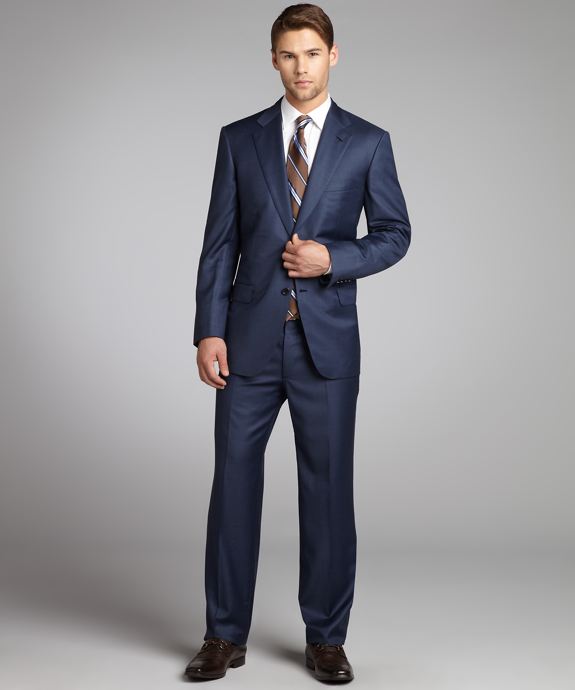 brioni suits brioni deep blue super 180s wool u0027parlamentou0027 2-button suit with flat front TCZZBTU
