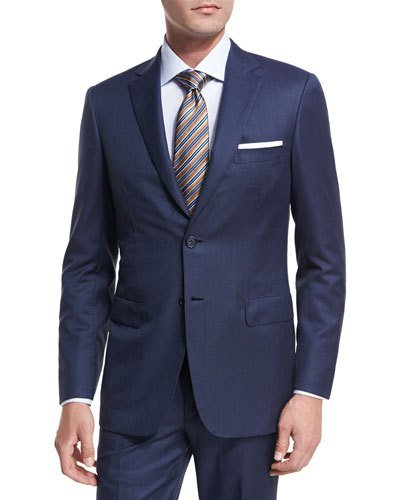 brioni suits textured solid wool two-piece suit WDCHJMT