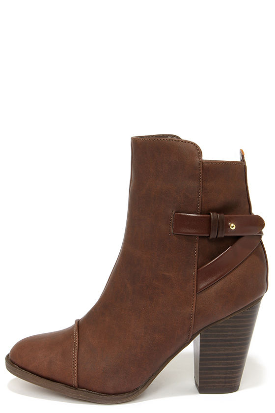 brown ankle boots cute brown boots - high heel boots - ankle boots - $38.00 RNSEMQT