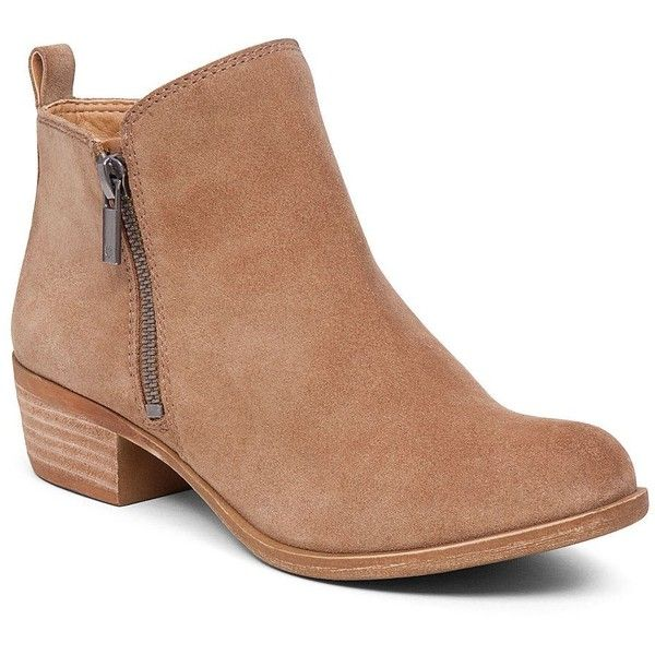 brown ankle boots lucky brand basel flat bootie ($120) ❤ liked on polyvore featuring shoes,  boots JZYAMGB
