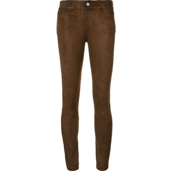 brown leggings paige suede effect leggings ($1,415) ❤ liked on polyvore featuring pants,  leggings, GKWCLMA