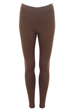 brown leggings womens chocolate brown full length plain stretch leggings (10) ELEANWU