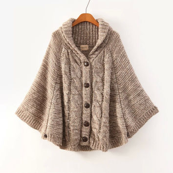 brown long-sleeve button knitted cape cardigan WVSTJEX