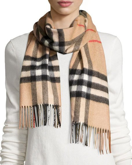 burberrygiant-check cashmere scarf CWHTSIP