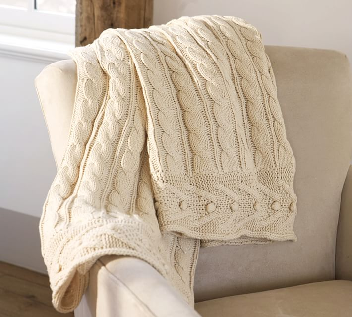 cable knit blanket cable knit throw | pottery barn DMDWJWF