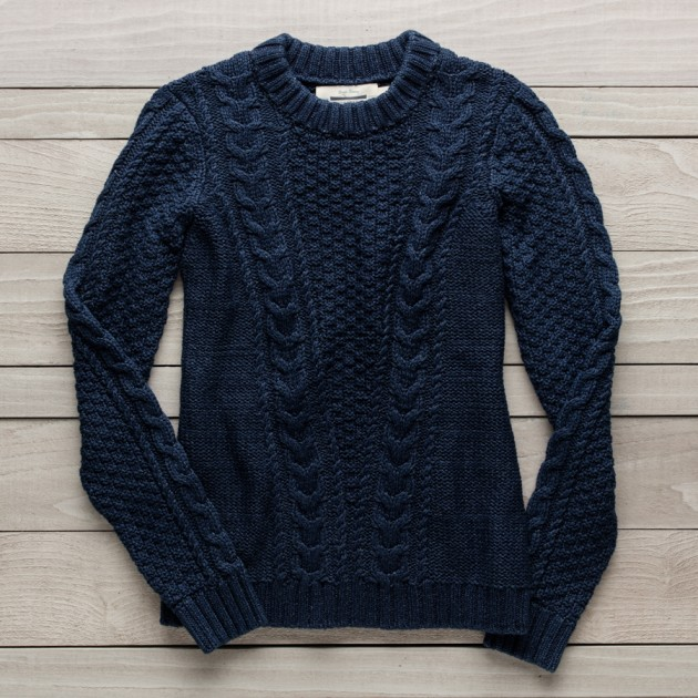 cable knit sweater ... womenu0027s deep river cable-knit sweater, washed indigo, xsmall EFQBHDA