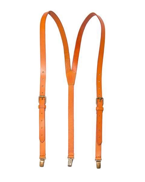 caramel - orange tan leather suspenders (clip-on) NGRIQWD