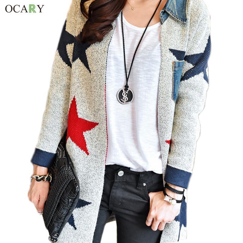 cardigans for women aliexpress.com : buy 2017 women fashion casual tricotado star print long cardigan  women knitted DVKFOKK
