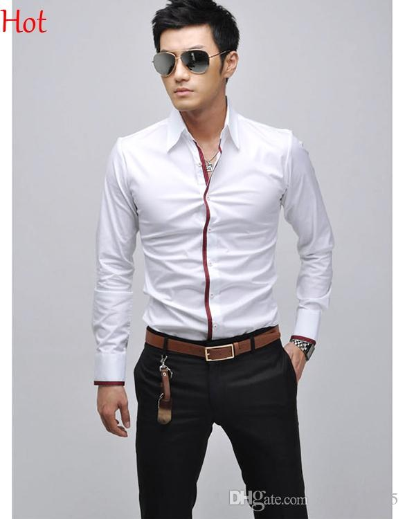 casual pink shirt for men 2015 new casual shirts men clothing social business slim fit shirt long  sleeve england DQEMAWQ