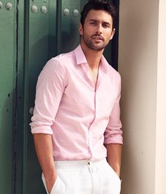 casual pink shirt for men noah mills - pink shirt - menu0027s casual summer style GGMDZEG