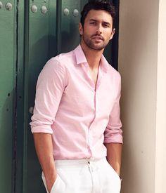casual pink shirt for men noah mills - pink shirt - menu0027s casual summer style GGMDZEG