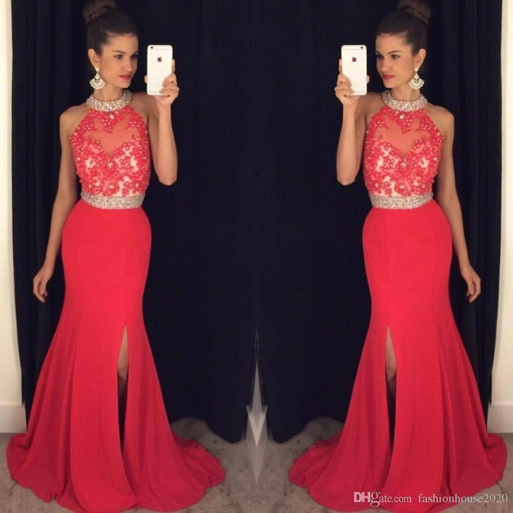 cheap long red prom dresses mermaid 2017 high neck appliques beaded prom  dress with GEHIOJO