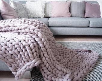 chunky knit blanket, giant yarn, throw - wrap, arm knit from 100% KQSGFHF