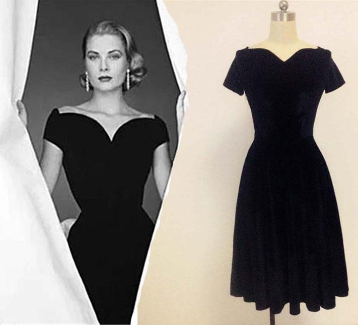 classic dresses grace of monaco sweetheart vintage dresses vintage retro 50s vestidos  velvet classic audrey hepburn QSNBWGA
