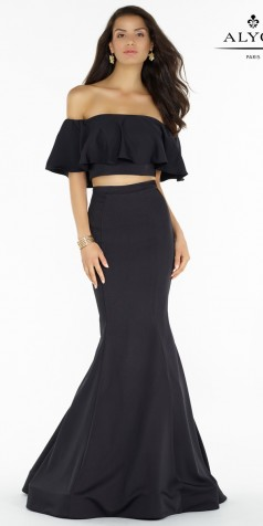 classic dresses two piece off the shoulder stretch prom dress - alyce paris - 6835 EQENMNA