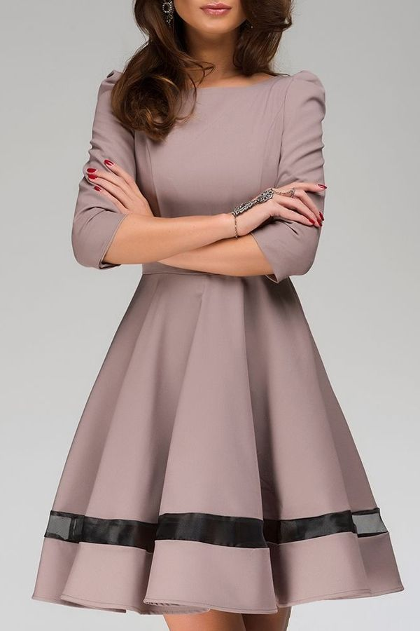 classic dresses voile spliced 3/4 sleeve flare dress ZSEYPPA