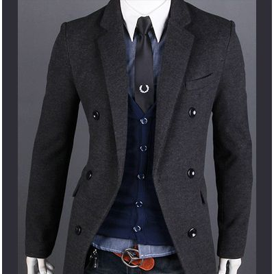 coats for men mens winter coat cashmere peacoat woolen double pea coat men slim long gray ARGILMH