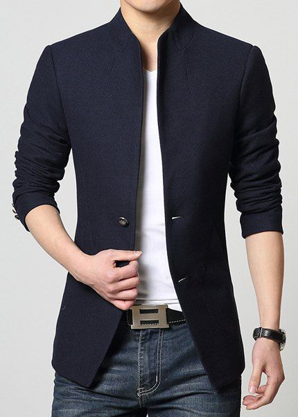 coats for men stand collar single-breasted solid color simple long sleeve lengthen coat  for men WATBOZF